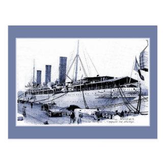 Cartão Postal Forro de oceano SS do vintage Burdigala no Bordéus