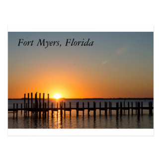 Cartão Postal Fort Myers, por do sol alaranjado bonito de