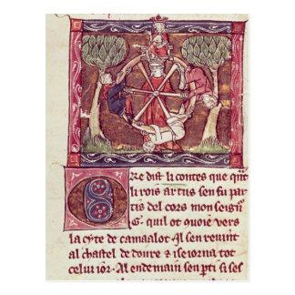 Cartão Postal Fortuna cega da deusa com rei Arthur