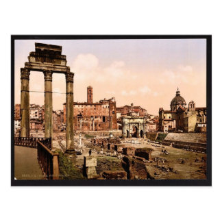 Cartão Postal Fórum Boario, vintage Photochrom de Roma, Italia