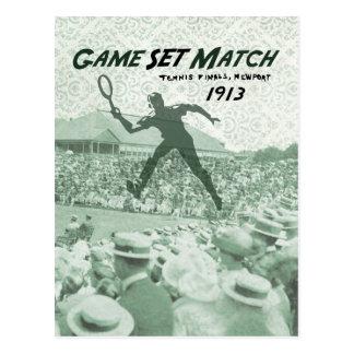 Cartão Postal Fósforo ajustado do jogo: Poster do tênis do