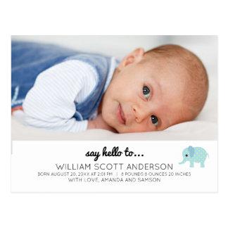 Cartão Postal Foto azul do anúncio do nascimento do bebé