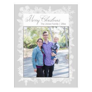 Cartão Postal Foto branca dos flocos de neve do Feliz Natal