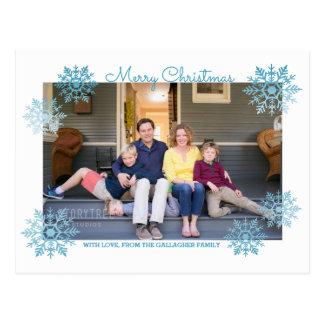 Cartão Postal Foto chique cintilante azul do feriado do floco de