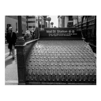 Cartão Postal Foto de Wall Street da Nova Iorque em preto & no