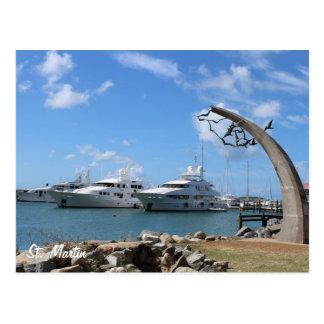 Cartão Postal Foto dos iate e da costa de St Martin (St.
