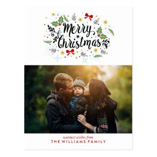 Cartão Postal Foto indicada por letras do Feliz Natal da mão do
