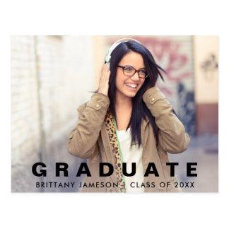 Cartão Postal Foto minimalista moderna do anúncio da graduação