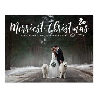 Cartão Postal Foto moderna do Natal o mais alegre da caligrafia