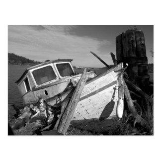Cartão Postal Foto preto e branco abandonada do Shipwreck