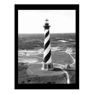 Cartão Postal Foto preto e branco do farol de Hatteras do cabo