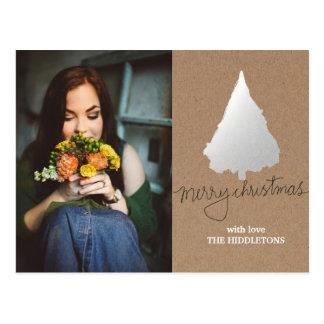 Cartão Postal Foto rústica da árvore de Natal da prata do papel