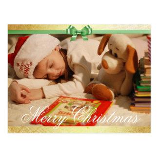 Cartão Postal Foto simples do ouro e do Natal do verde