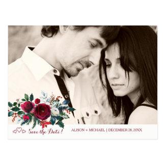 Cartão Postal Foto vermelha da data das economias do casamento