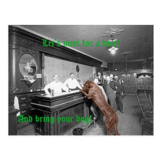Cartão Postal Fotografia amigável do bar 1900 da taberna do bar