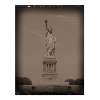 Cartão Postal Fotografia antiga da estátua da liberdade