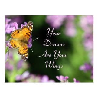 Cartão Postal Fotografia da borboleta dos sonhos & das asas