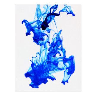 Cartão Postal Fotografia do macro da gota da tinta de azuis