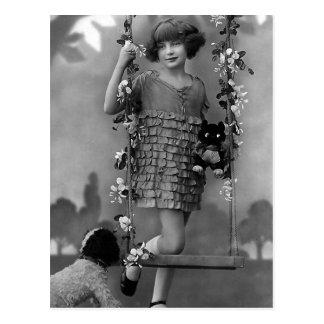 """Cartão Postal """"Fotografia do vintage da criança bonito"""""""