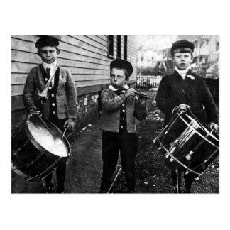 Cartão Postal Fotografia dos meninos do baterista do vintage
