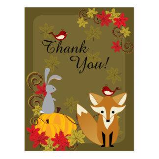 Cartão Postal Fox bonito e obrigado do outono dos animais da