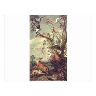 Cartão Postal Fox e gato por Frans Snyders