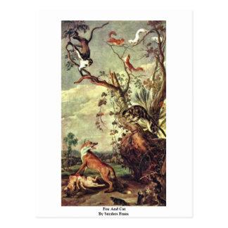 Cartão Postal Fox e gato por Snyders Frans