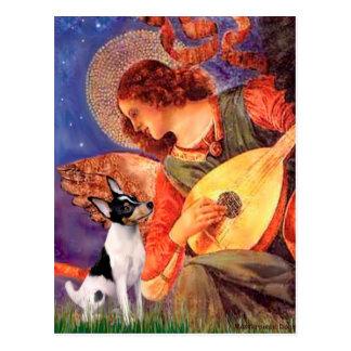 Cartão Postal Fox Terrier do brinquedo - anjo do bandolim