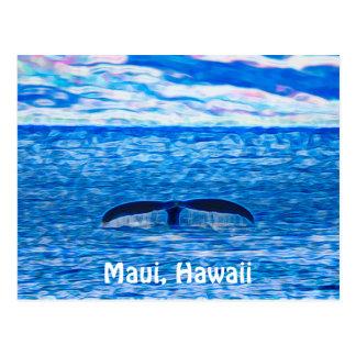 Cartão Postal Fractal da cauda da baleia azul e cor-de-rosa