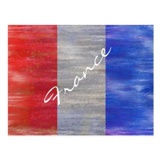 Cartão Postal France afligiu a bandeira francesa