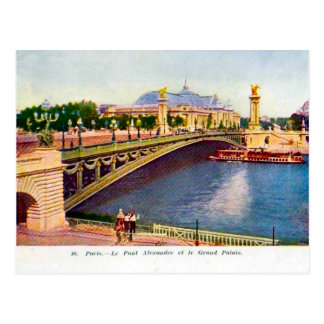 Cartão Postal France Paris, Pont Alexandre III, Palais grande