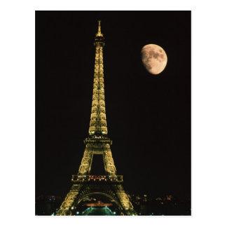 Cartão Postal France, Paris. Torre Eiffel na noite com