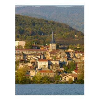 Cartão Postal France, Rhone River, cidade perto de Vienne