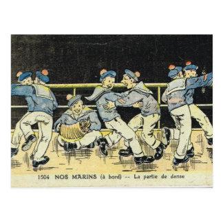 Cartão Postal Francês do vintage, marinheiros que encaixotam,