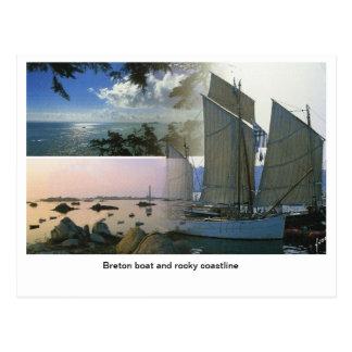 Cartão Postal Francês France, barco bretão e litoral rochoso