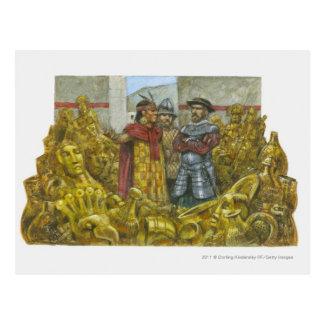 Cartão Postal Francisco Pizarro ao lado do imperador Atahualpa