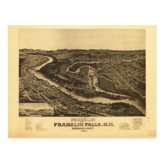 Cartão Postal Franklin e quedas de Franklin, New Hampshire