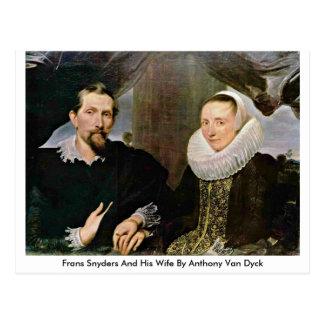 Cartão Postal Frans Snyders e sua esposa por Anthony Van Dyck