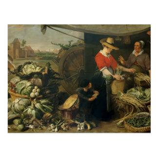 Cartão Postal Frans Snyders- uma tenda da fruta