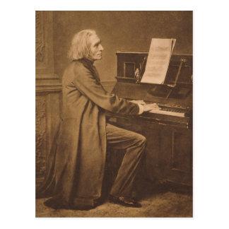 Cartão Postal Franz Liszt no piano