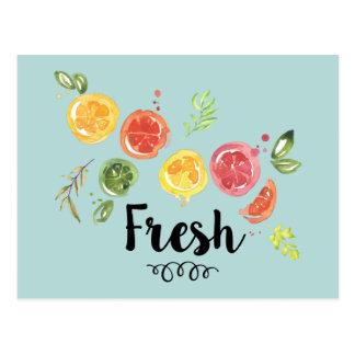 Cartão Postal Fresco - citrinas na aguarela