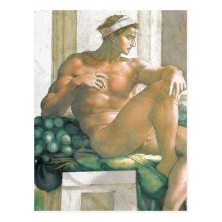 Cartão Postal Fresco da descrição pintado por Michelangelo e por