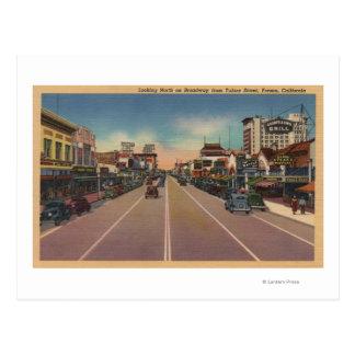 Cartão Postal Fresno, opinião de CA - norte em Broadway