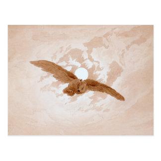 Cartão Postal Friedrich: Vôo da coruja contra um céu enluarada