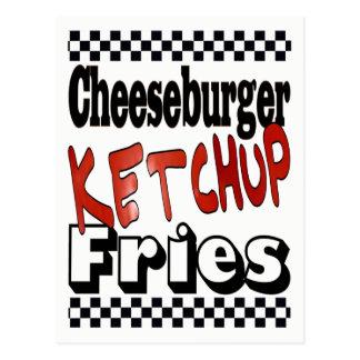 Cartão Postal Fritadas da ketchup do cheeseburger