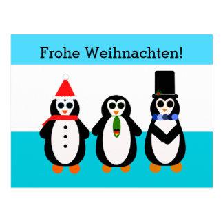 Cartão Postal Frohe Weihnachten! Pinguins com coração alemão