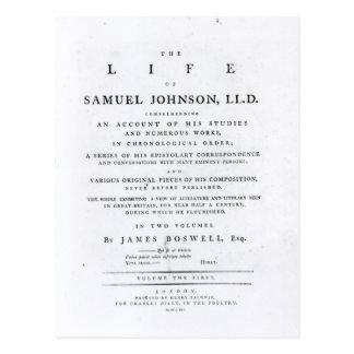 Cartão Postal Frontispício, 'da vida de Samuel Johnson