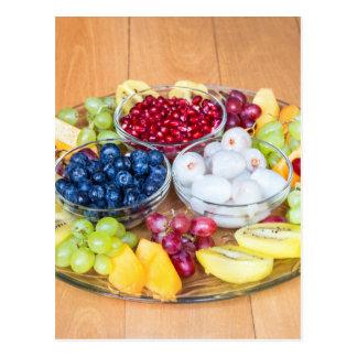 Cartão Postal Fruta fresca do verão da variedade na escala de