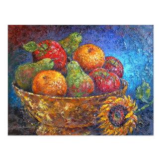 Cartão Postal Frutas e arte da pintura do girassol - multi