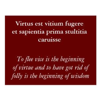 Cartão Postal Fugere do vitium de Virtus est